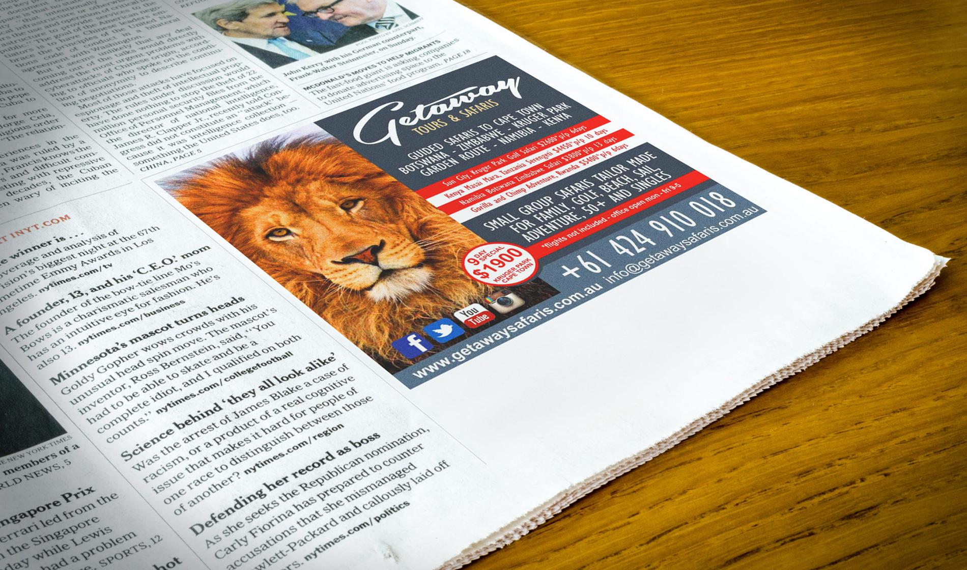 Getaway Safaris Newspaper Advert