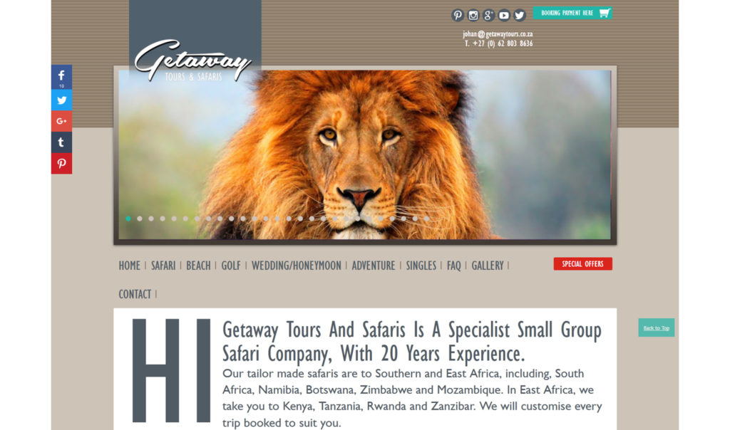 Getaway Safaris branding and website