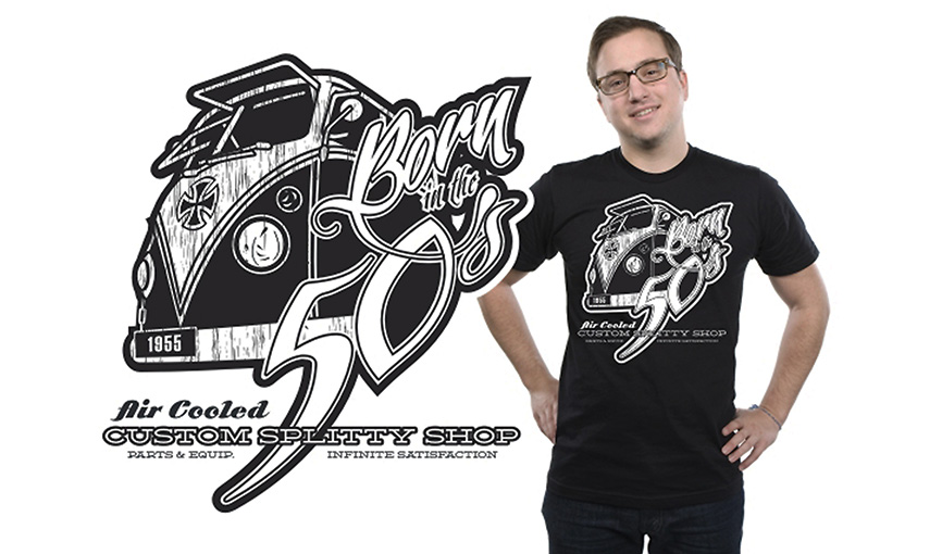 Born in the 50s VW black tee