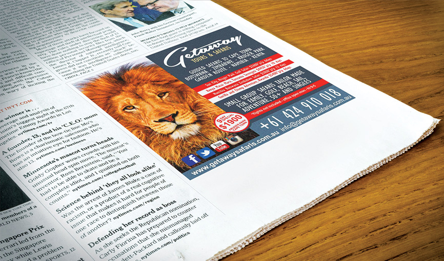 Getaway Safaris Newspaper Advert