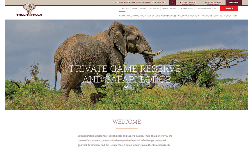 Thula Thula Exclusive Private Game Reserve and Safari Lodge logo and website